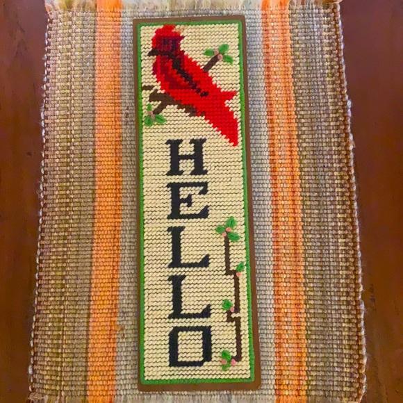 VTG 70s Handmade Needlepoint Cardinal Hello Sign